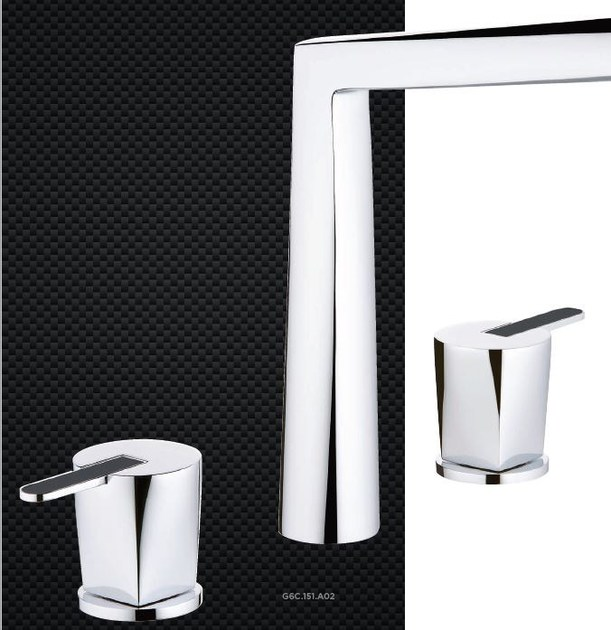 Miscelatore per lavabo a 3 fori in metallo in stile moderno con finitura lucida con rosette separate METAMORPHOSE CARBONE | Miscelatore per lavabo - INTERCONTACT