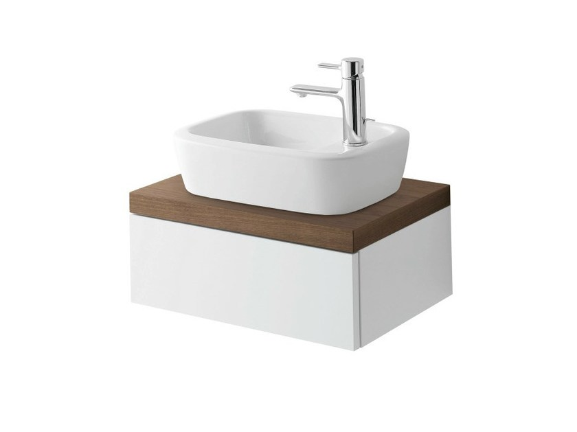 Single wall-mounted walnut vanity unit with doors Wall-mounted vanity unit - TOTO