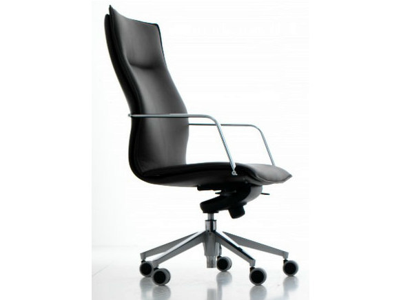High-back leather executive chair with 5-spoke base with armrests MAYBE | Executive chair - Quinti Sedute