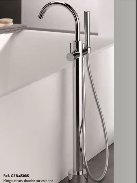 Contemporary style 2 hole wall-mounted metal bathtub mixer with hand shower NANO A MANETTES | Floor standing bathtub mixer - INTERCONTACT
