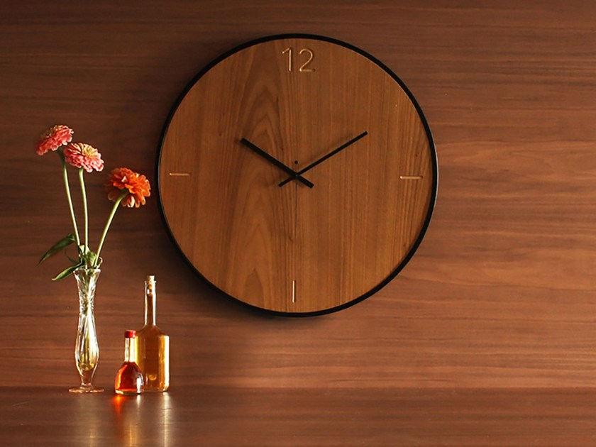 Wall-mounted wooden clock NATURAL WALNUT by xline