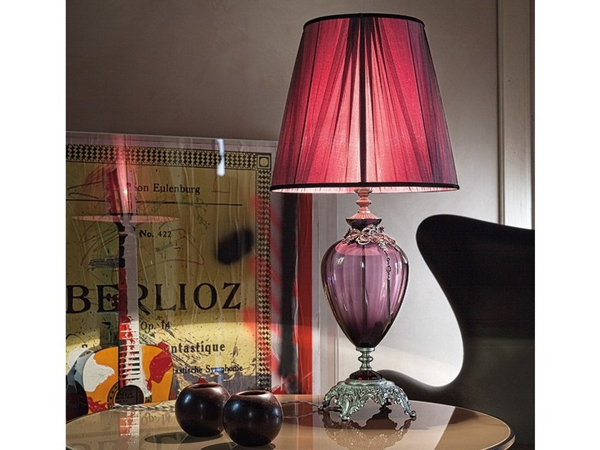 Classic style indirect light fabric table lamp with fixed arm NAUSICAA LG1 by Euroluce Lampadari