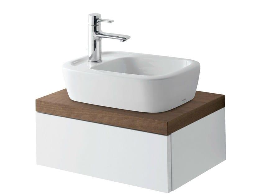 Single wall-mounted walnut vanity unit with doors NC | Single vanity unit - TOTO