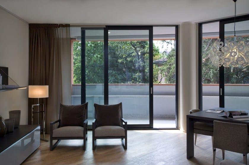 Porta finestra scorrevole in alluminio con triplo vetro nc - Porta finestra alluminio ...