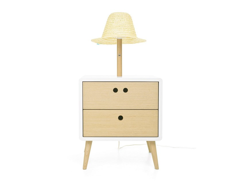Side or bedside table with integrated lamp NEL - DAM