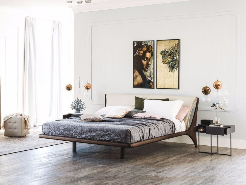 Double bed with upholstered headboard NELSON by Cattelan Italia