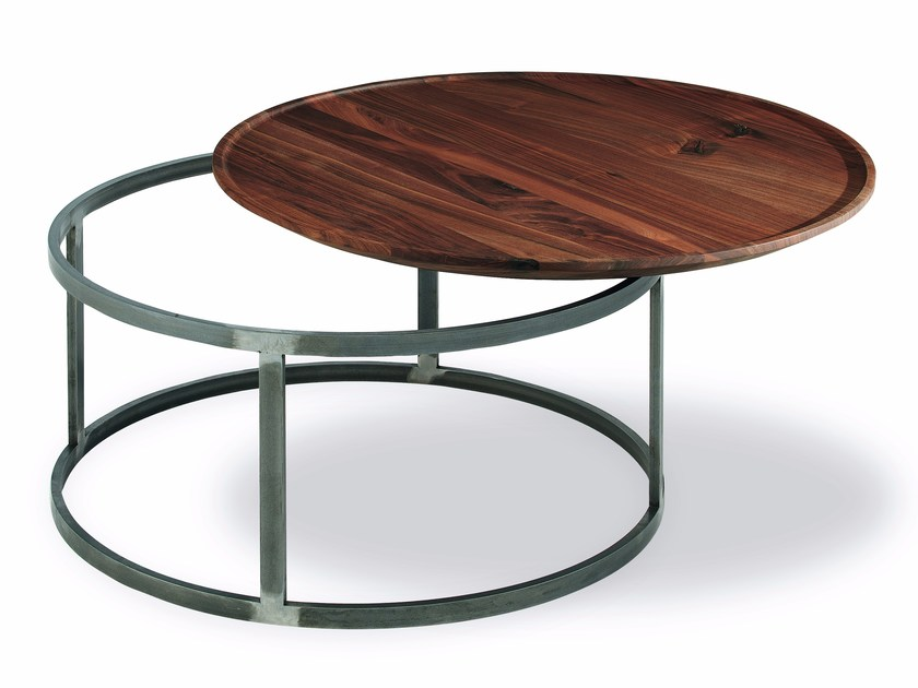 Round low wooden and iron coffee table NEST | Round coffee table by Riva 1920