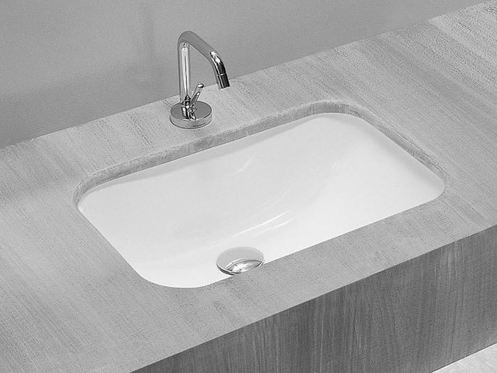 Undermount rectangular ceramic washbasin NETTUNO - Hidra Ceramica