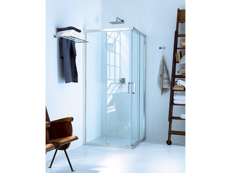 Corner glass shower cabin with sliding door NEW CLAIRE - 1 by INDA®