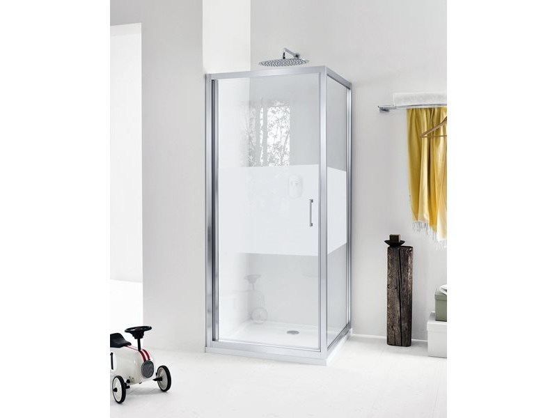 Corner glass shower cabin with hinged door NEW CLAIRE - 4 - INDA®