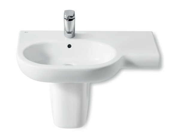 Wall-mounted washbasin with integrated countertop NEW MERIDIAN | Wall-mounted washbasin by ROCA SANITARIO