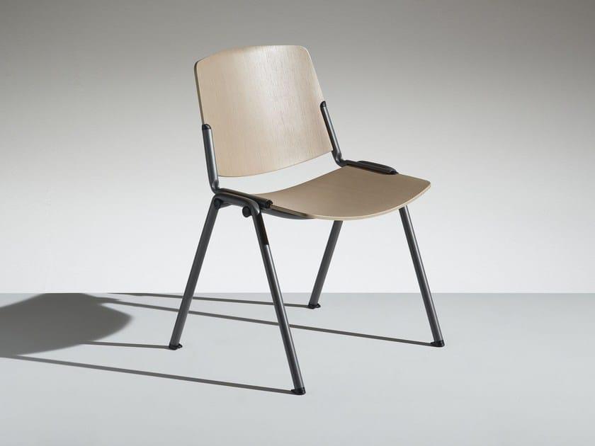 Stackable wooden chair NEW MODULAMM | Wooden chair by lamm
