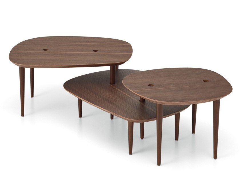 Low walnut coffee table for living room NEW SONG by Saba Italia