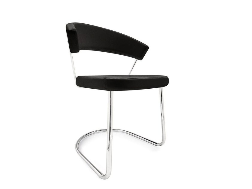 Cantilever upholstered leather chair NEW YORK | Cantilever chair - Calligaris