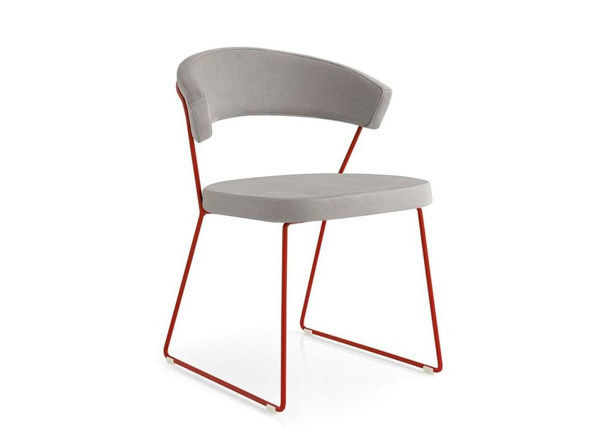 Sled base upholstered fabric chair NEW YORK | Sled base chair - Calligaris