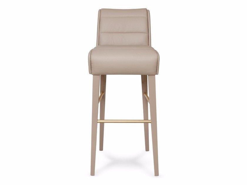 Leather counter stool with footrest NEWMAN | Counter stool - Munna