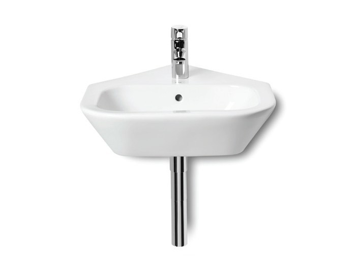 Corner wall-mounted handrinse basin with overflow NEXO | Corner handrinse basin - ROCA SANITARIO