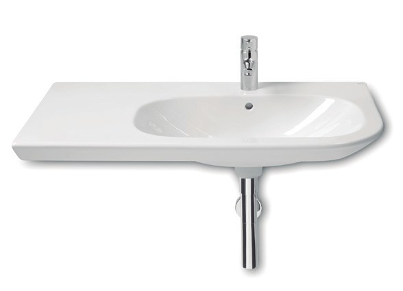 Wall-mounted washbasin with integrated countertop NEXO | Washbasin with integrated countertop - ROCA SANITARIO