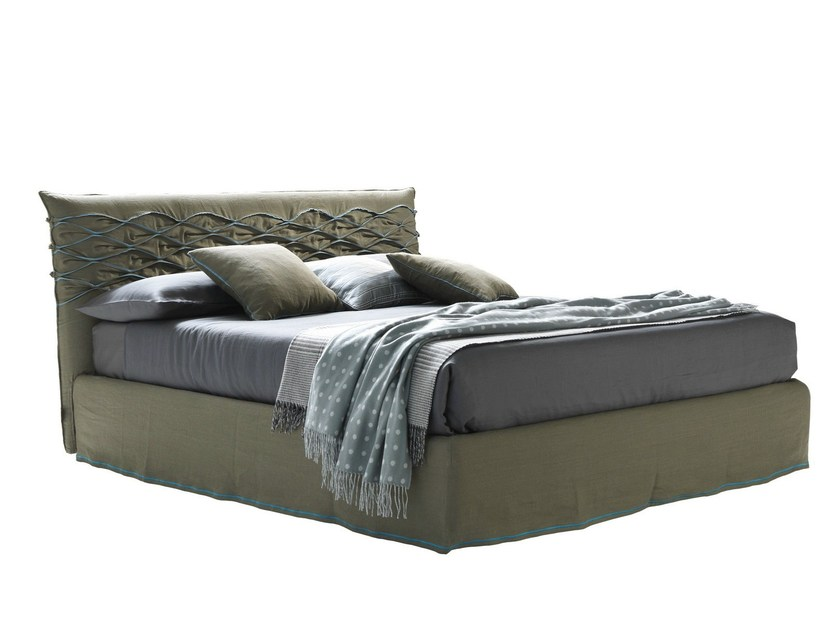 Fabric double bed with upholstered headboard NICE CHIC - Bolzan Letti