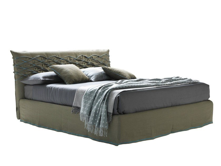 Fabric double bed with upholstered headboard NICE CHIC by Bolzan Letti
