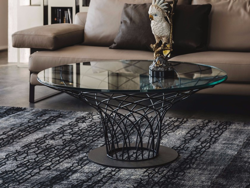Low round crystal coffee table NIDO by Cattelan Italia