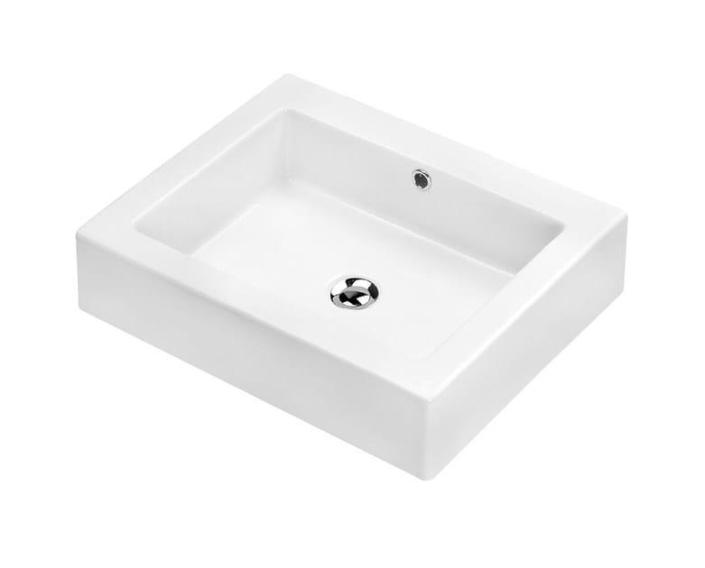 Countertop rectangular washbasin NIOBE - Olympia Ceramica