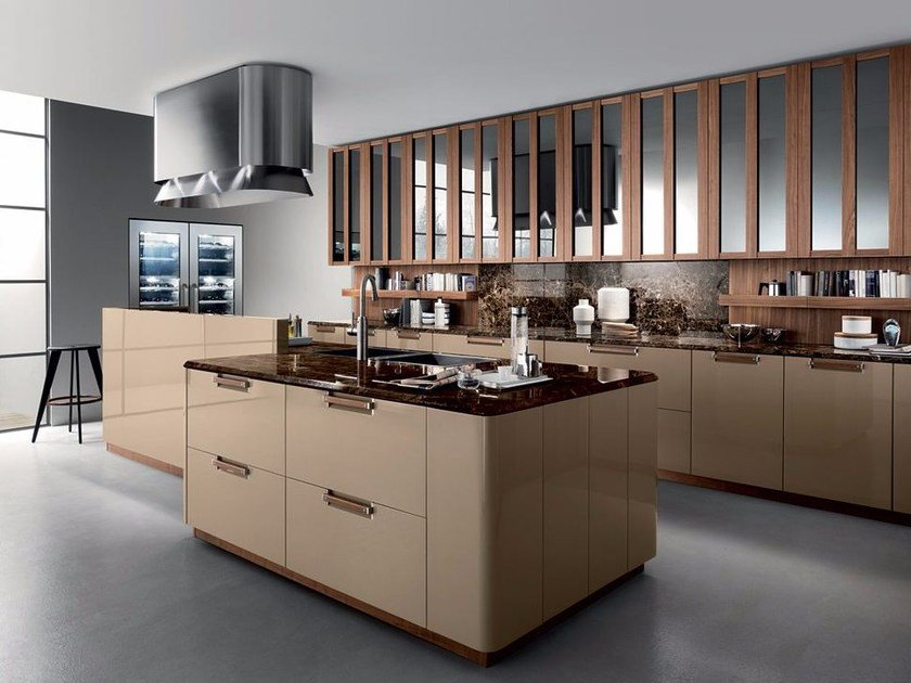 Fitted kitchen with handles NOISETTE by Composit