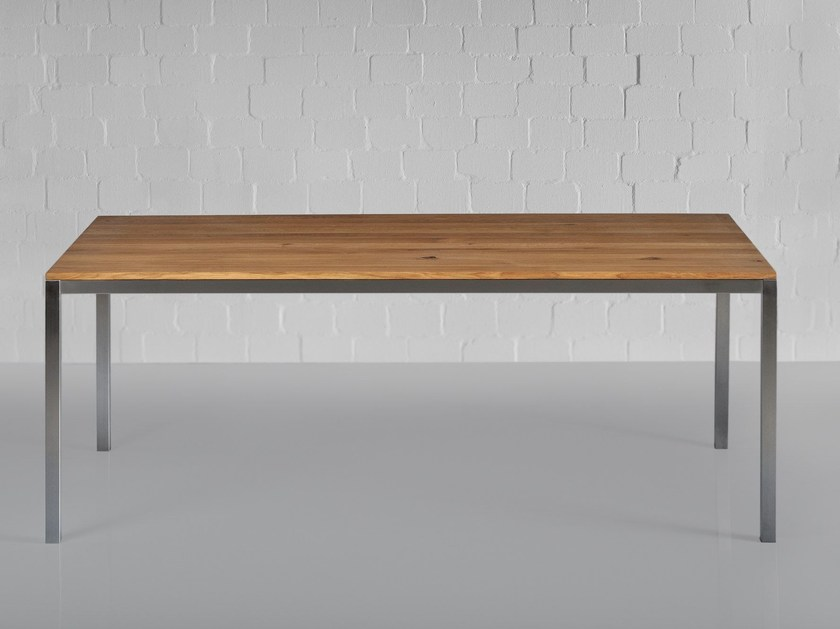 Stainless steel and wood table NOJUS - vitamin design