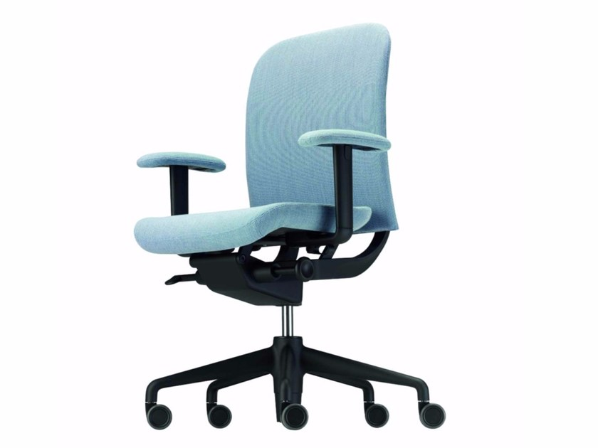 Fabric task chair with 5-Spoke base with armrests with casters NORMA FABRIC - 381_F by Alias