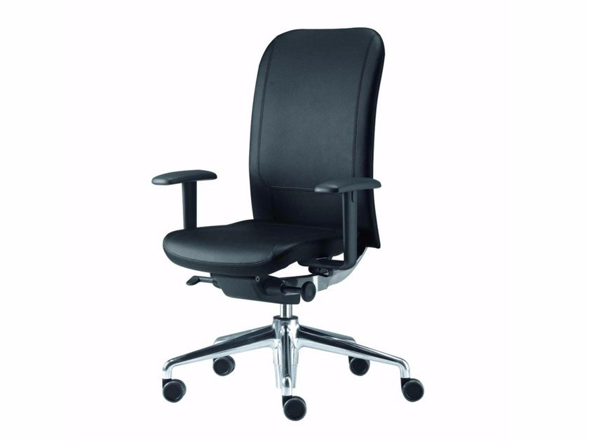 Swivel leather task chair with 5-Spoke base with armrests NORMA LEATHER - 381_L - Alias