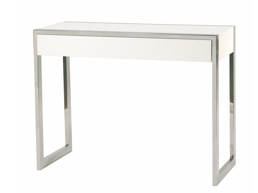 Lacquered rectangular MDF console table NOROESTE - Branco sobre Branco