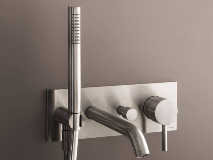 Wall-mounted bathtub mixer with hand shower NOSTROMO - D020A/E321B by Fantini Rubinetti