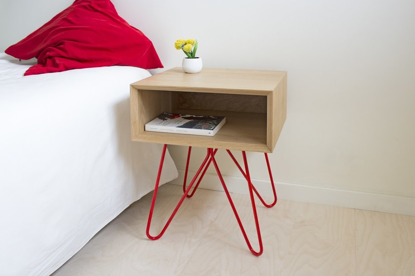 Square wooden bedside table NOVE | Bedside table by Galula