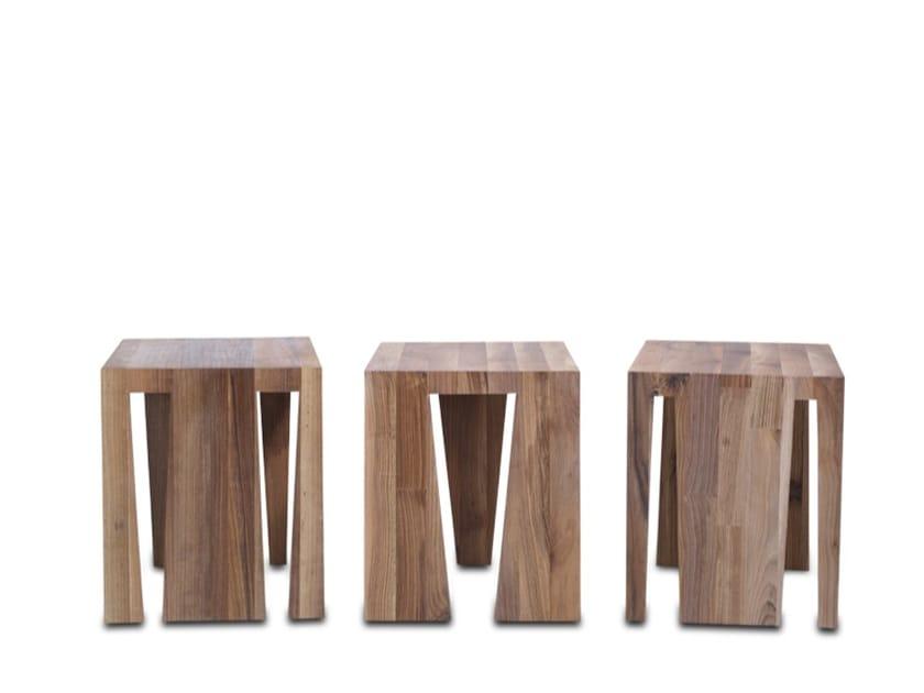 Sgabello / tavolino in legno massello NT - HOOKL und STOOL
