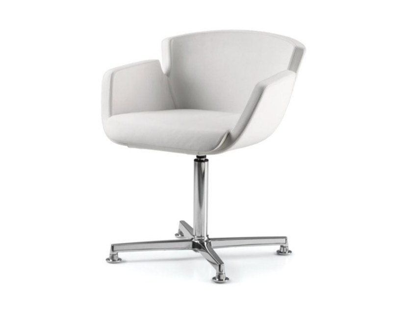 Leather reception chair with 4-spoke base with armrests NUBIA 2904 - TALIN