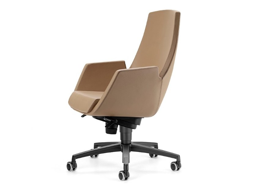 Height-adjustable leather executive chair with 5-spoke base with casters NUBIA 2918 - TALIN