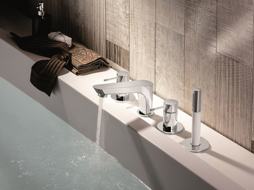 4 hole bathtub set with hand shower O'RAMA | 4 hole bathtub set by newform