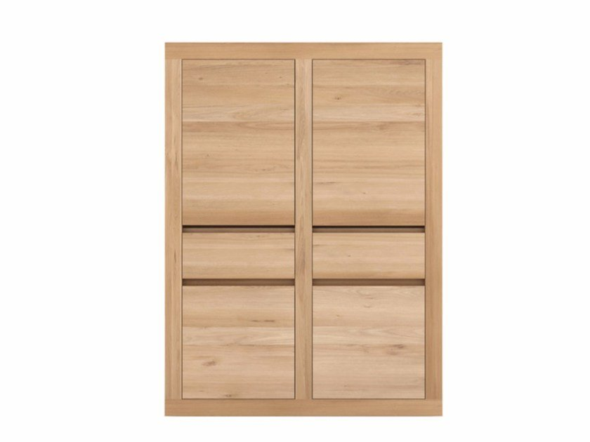 Solid wood highboard with doors and drawers OAK FLAT | Highboard - Ethnicraft