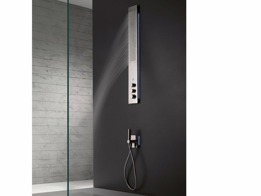 Wall-mounted thermostatic LED stainless steel shower panel OBLIQUA | Wall-mounted shower panel - ZAZZERI