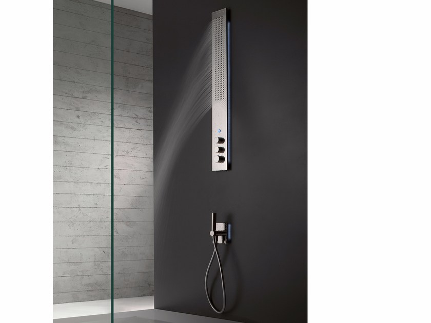 Wall-mounted thermostatic LED stainless steel shower panel OBLIQUA | Wall-mounted shower panel by ZAZZERI
