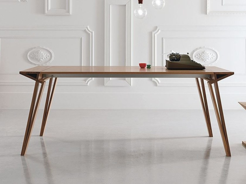 Extending lacquered rectangular wooden table OBLIQUE - ALIVAR