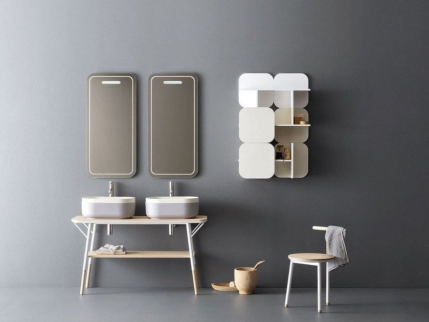 Double vanity unit with mirror SABI by NOVELLO