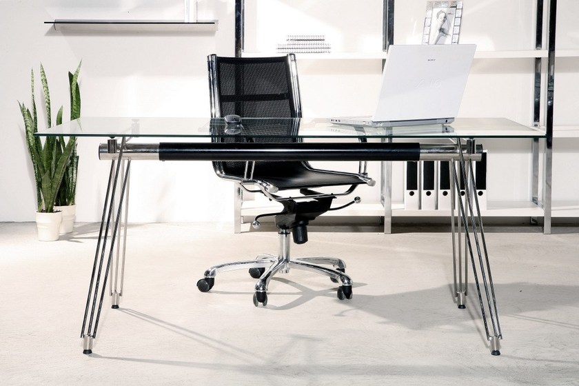Rectangular glass and steel office desk OFFICIA by KARE-DESIGN