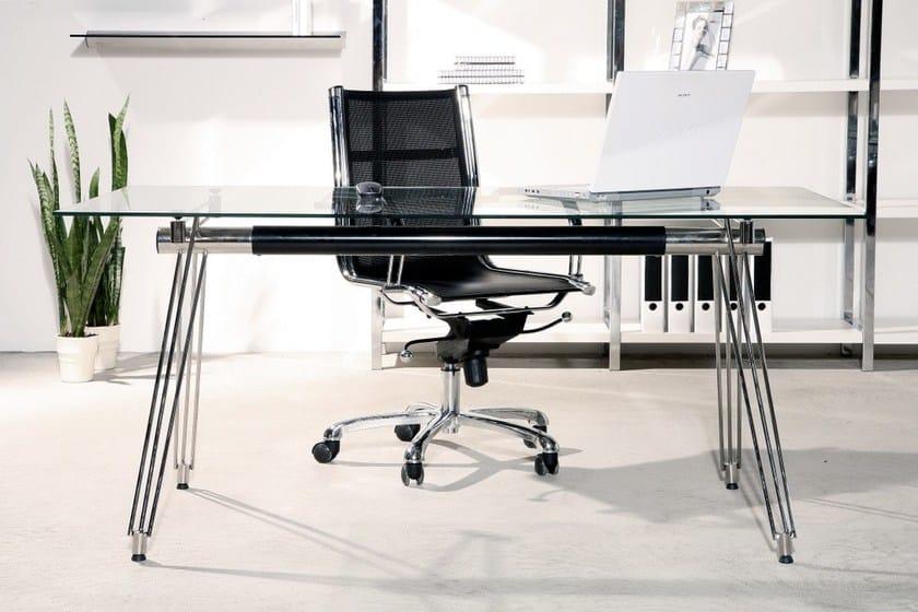 Rectangular glass and steel office desk OFFICIA - KARE-DESIGN