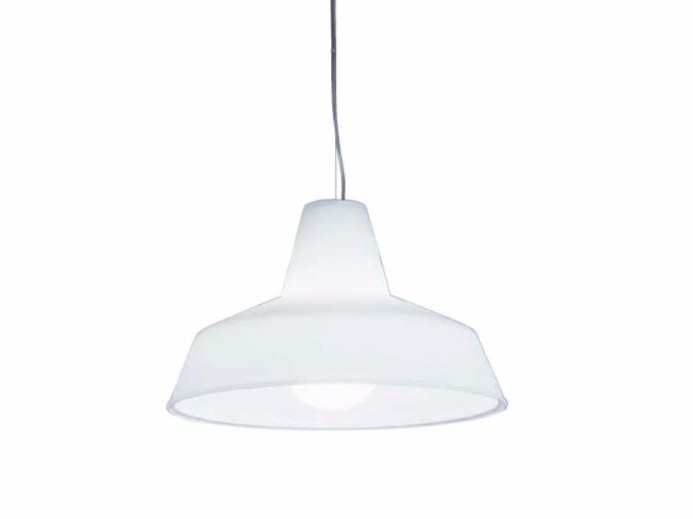 Direct-indirect light glass pendant lamp OFFICINA H2 - Rotaliana