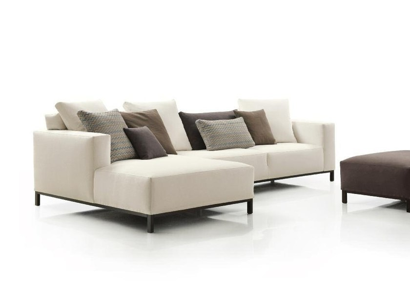 Fabric sofa with chaise longue OGGI by Papadatos
