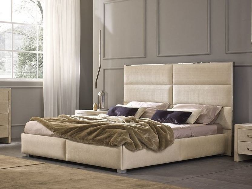 Imitation leather bed with high headboard OLIMPIA by Chaarme