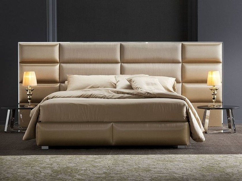 Contemporary style fabric storage bed with high headboard with upholstered headboard OLIMPIA LARGE by Chaarme
