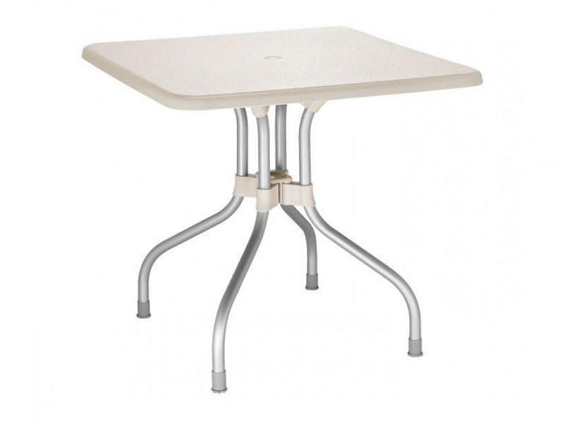 Drop-leaf square polypropylene garden table OLIMPO | Drop-leaf table - SCAB DESIGN
