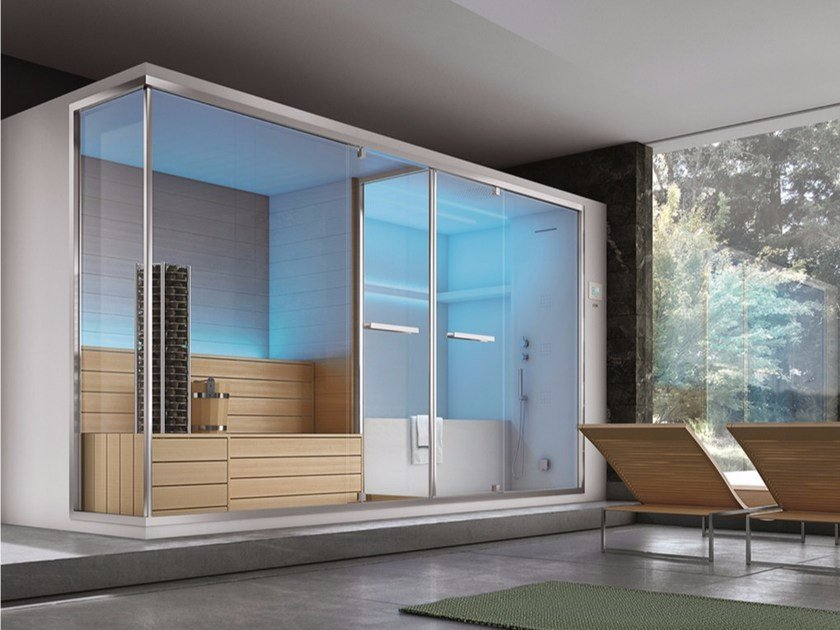 Sauna / turkish bath with bathub OLIMPO by Gruppo Geromin